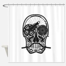 Bike Parts Skull Shower Curtain