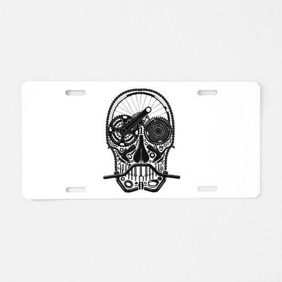 Bike Parts Skull Aluminum License Plate