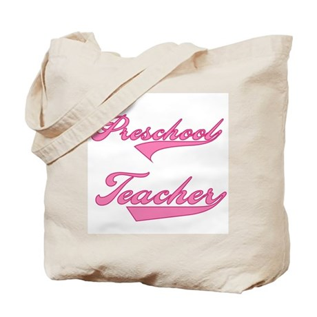 Preschool Teacher Pink Text Tote Bag