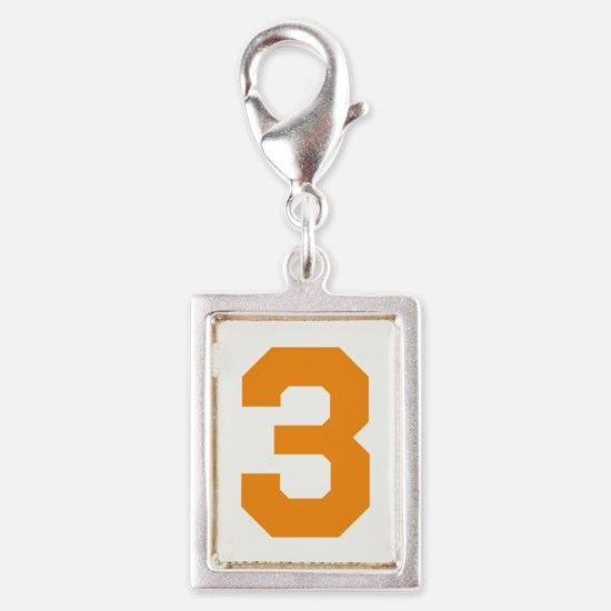 3 ORANGE # THREE Silver Portrait Charm