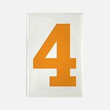 4 ORANGE # FOUR Rectangle Magnet