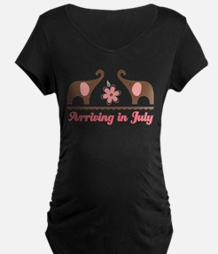 Arriving in July Elephant Maternity T-Shirt