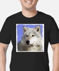 White Wolf on Blue Ash Grey T-Shirt