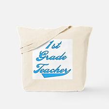 1st Grade Teacher Blue Text Tote Bag
