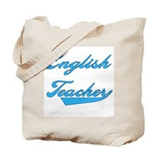 Blue Text English Teacher Tote Bag