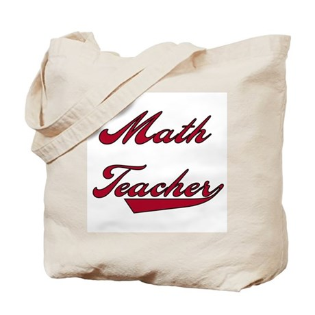 Math Teacher Red Text Tote Bag