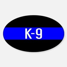 Police K-9 (Thin Blue Line) Sticker (Oval)