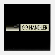 K-9 Handler (Black Flag) Tile Coaster