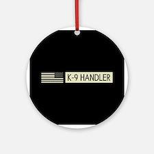 K-9 Handler (Black Flag) Round Ornament