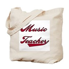 Music Teacher Red Text Tote Bag