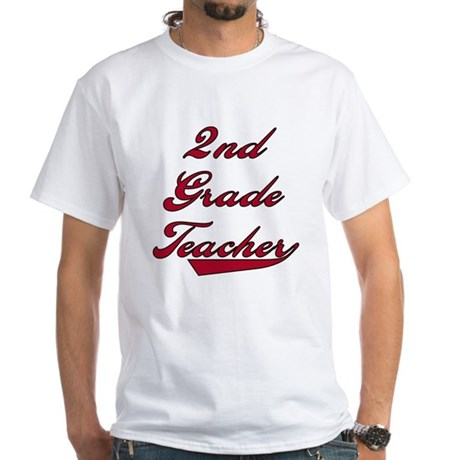 2nd Grade Teacher Red Text White T-Shirt
