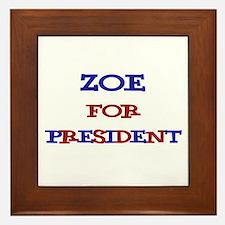Zoe for President Framed Tile