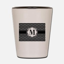 Black and White Chic Polka Dots with Mo Shot Glass