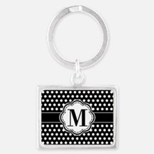 Black and White Chic Polka Dots Landscape Keychain