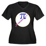 Pi-receding Women's Plus Size V-Neck Dark T-Shirt