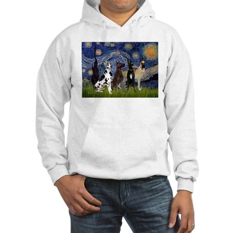 Starry Night & 4 Great Danes Hooded Sweatshirt