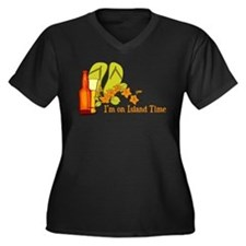 I'm On Island Time Women's Plus Size V-Neck Dark T