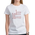 Just Married Pink Text Women's T-Shirt
