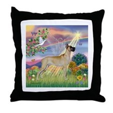Cloud Angel & Fawn Great Dane Throw Pillow