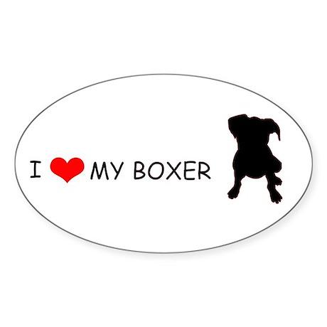 """I Love My Boxer"" Oval Sticker"