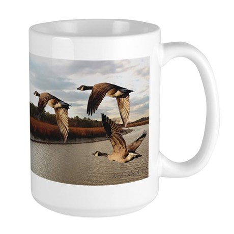Canadian Geese Flying Over the River