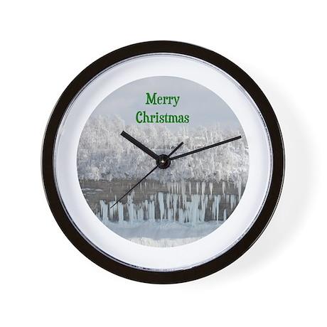 Merry Christmas Snowy Trees Wall Clock