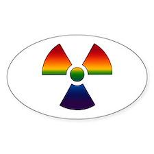 Gay Radiation Symbol Oval Decal