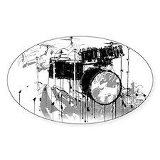 Drum Set Graffiti Oval Bumper Stickers