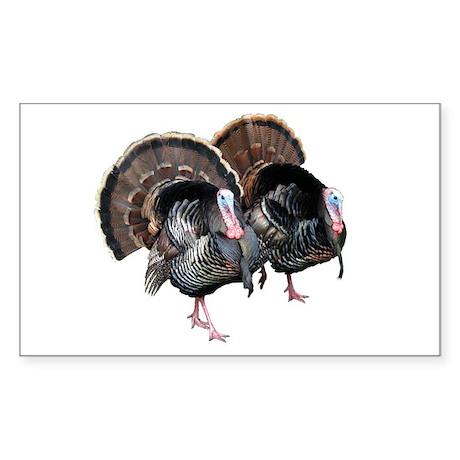Wild Turkey Pair Rectangle Sticker