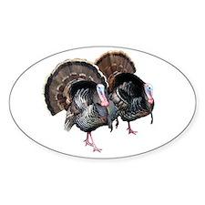Wild Turkey Pair Oval Decal