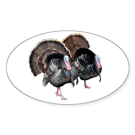 Wild Turkey Pair Oval Decal By Tracker2