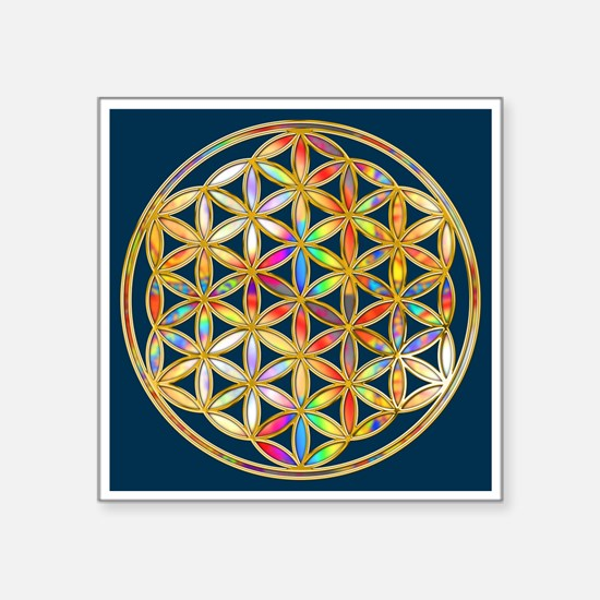 Flower Of Life gold colored II Sticker