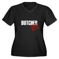 Off Duty Butcher Women's Plus Size V-Neck Dark T-S