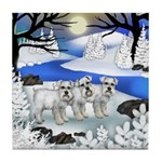 WHITE SCHNAUZER DOGS FROZEN RIVER Tile Coaster