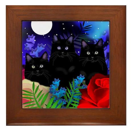 BLACK CATS MOON GARDEN Framed Tile