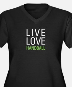 Live Love Handball Women's Plus Size V-Neck Dark T