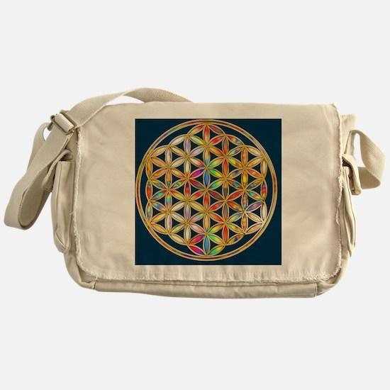 Flower Of Life gold colored II Messenger Bag