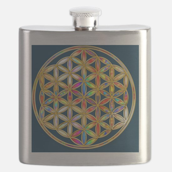 Flower Of Life gold colored II Flask