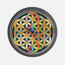 Flower Of Life gold colored II Wall Clock