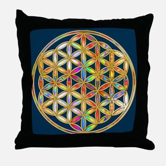 Flower Of Life gold colored II Throw Pillow