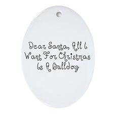 A Bulldog For Christmas Oval Ornament
