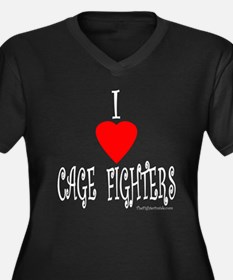 I Love Cage Fighters Women's Plus Size V-Neck Dark