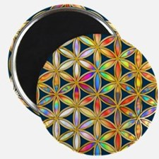 Flower Of Life gold colored II Magnets