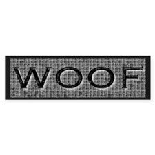 WOOF-BLACK/GREY Bumper Bumper Sticker