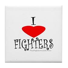I Love Fighters Tile Coaster