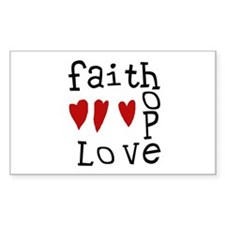 Faith, Love, Hope Rectangle Decal