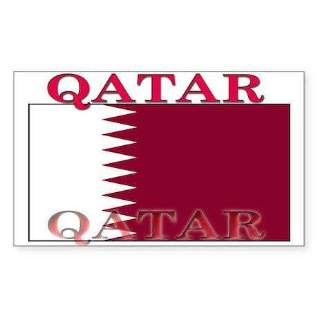 Qatar Qatari Flag Rectangle Sticker
