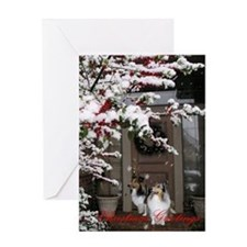 Sheltie Front Door Christmas Greeting Card