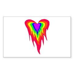 Flaming Heart Rectangle Sticker
