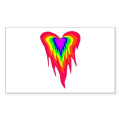 Flaming Heart Rectangle Decal